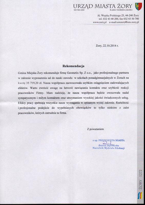 Referencje 2014 dla sprzedaży i opinia o sprzęcie pomiarowym od Urzędu Miasta Żory
