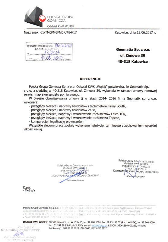 Referencje 2017 dla serwisu geodezyjnego i laboratorium kontrolno-pomiarowego od Polskiej Grupy Górniczej Oddział KWK Wujek