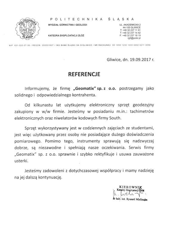 Referencje 2017 dla sprzedaży i serwisu geodezyjnego oraz opinia o sprzęcie geodezyjnym SOUTH od Politechniki Śląskiej Wydział Górnictwa i Geologii