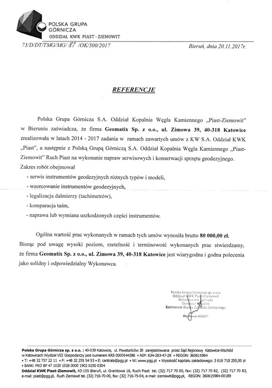 Referencje 2017 dla serwisu geodezyjnego i laboratorium kontrolno-pomiarowego od Polskiej Grupy Górniczej Oddział KWK Piast-Ziemowit