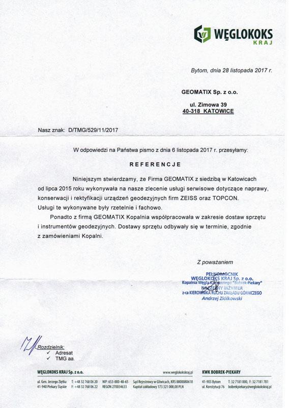Referencje 2017 dla sprzedaży, dostaw i serwisu geodezyjnego od Węglokoksu Kraj KWK Bobrek-Piekary