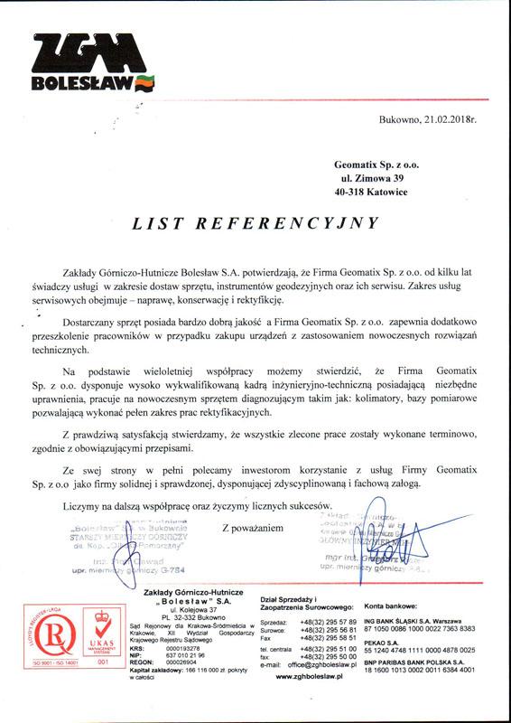 """Referencje 2018 dla sprzedaży, serwisu geodezyjnego i laboratorium kontrolno-pomiarowego od Zakładów Górniczo-Hutniczych """"Bolesław"""" S.A."""