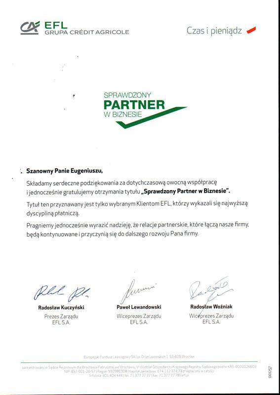 """Podziękowanie 2018 """"Sprawdzony Partner w Biznesie"""" od EFL Grupa Credit Agricole"""