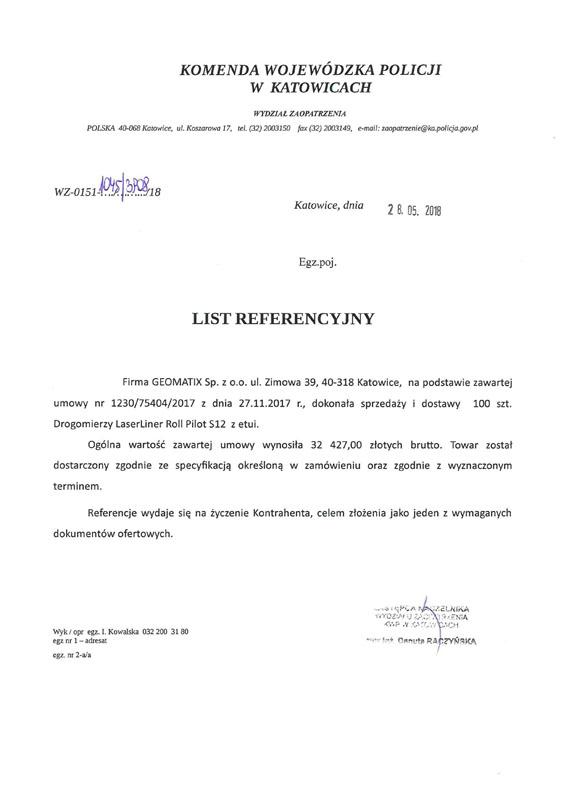 Referencje 2018 dla sprzedaży od Komendy Wojewódzkiej Policji w Katowicach