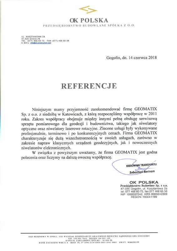 Referencje 2018 dla serwisu geodezyjnego od OK POLSKA Przedsiębiorstwa Budowlanego Sp. z o.o.