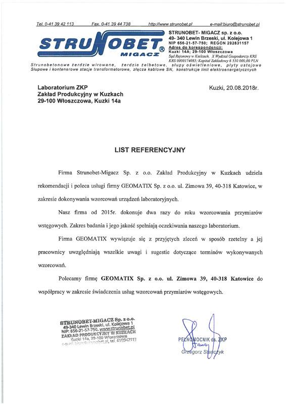 Referencje 2018 dla Laboratorium Kontrolno-Pomiarowego od STRUNOBET-MIGACZ Sp. z o.o.