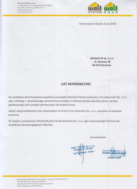 Referencje 2018 dla sprzedaży i serwisu geodezyjnego od WOLF SYSTEM Sp. z o.o.