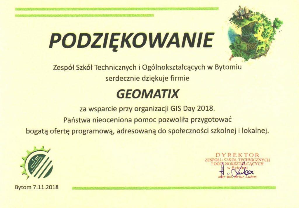 GIS Day 2018 - Podziękowanie dla Geomatix od Dyrekcji ZSTiO w Bytomiu
