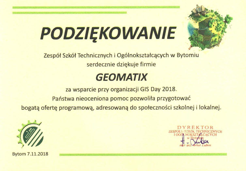 GIS day 2018 ZSTiO Bytom podziękowanie dla Geomatix