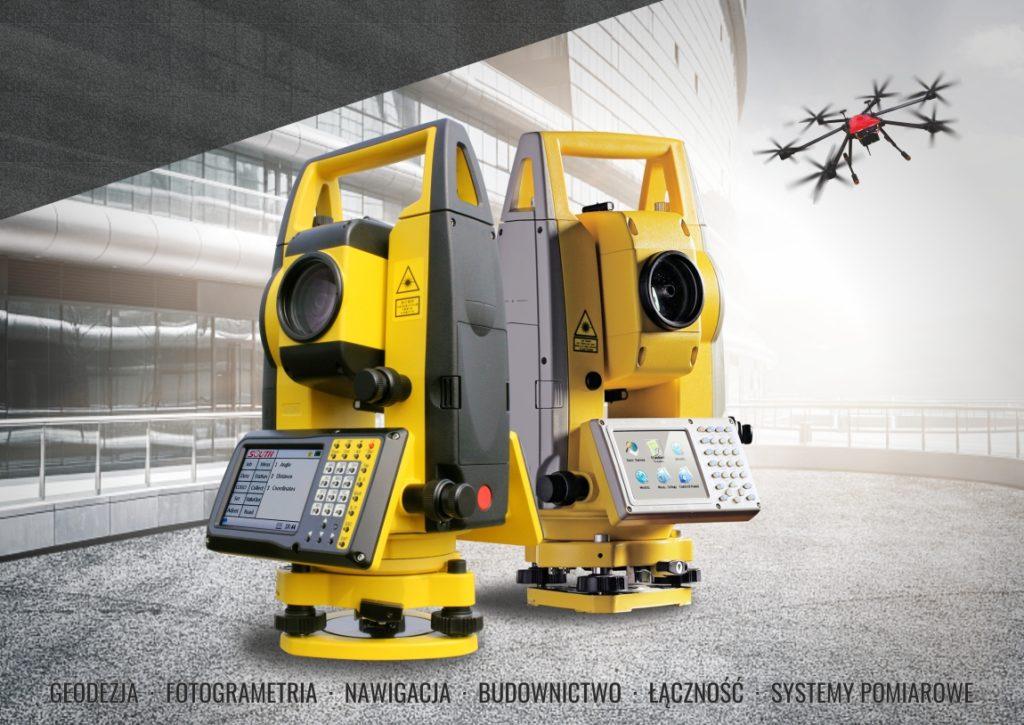 Obraz z tachimetrami i dronem. Geomatix - Geodezja, Fotogrametria, Nawigacja, Budownictwo, Łączność, Systemy Pomiarowe