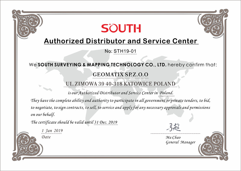 Certyfikat SOUTH Authorized Distributor and Service Center 2019